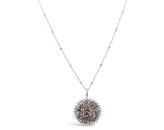 Rose Gold Druzy Neckace, Druzy Jewelry, Drusy Necklace, Drusy Jewelry, Druzy Quartz Necklace, Bridesmaid Jewelry, Bridesmaid Necklace