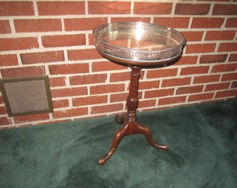 Vintage 1940s Mahogany 3 Legged Table with Silverplate Serving Tray Top