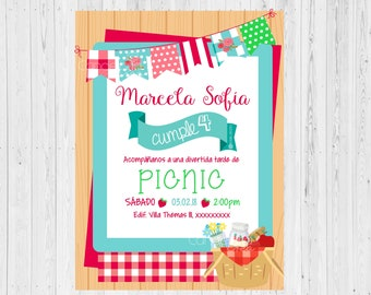 PICNIC INVITATION, Picnic party invitation, Picnic party, Garden invitation, Invitación picnic, Invitación Fiesta Jardín