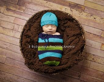 Logan Newborn Swaddle Sack - Newborn Snuggle Sack - Option to purchase matching hat