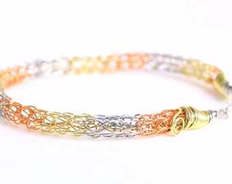 Viking bracelet, mixed metal striped jewelry with stainless steel, copper and brass