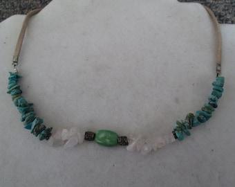 Southwestern turqoise, crystal quartz and jasper beaded necklace on leather