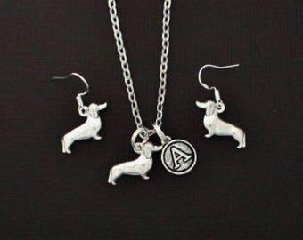 Dachshund Doxie Dog Earrings and Necklace - Personalized Necklace Jewelry - Dachshund Doxie Weiner Dog Jewelry Gift