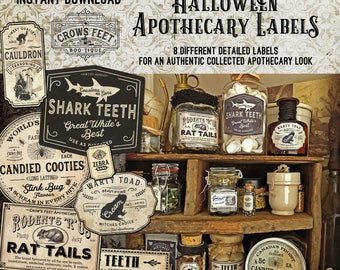Vintage Look Witch Potion Labels, Halloween Apothecary Labels for Jars, Printable, Collection #1