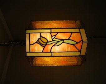 Stained Glass Tulip Swag Lamp- OOAK