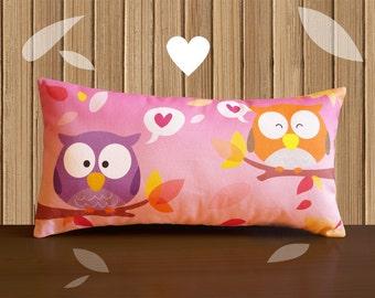 Decorative Pillow -RainbOWL- Pink/Green