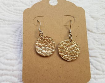 Genuine Leather Dot Earrings in Metallic Gold
