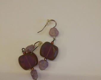 Earrings tears of the cuckoo lilac glass