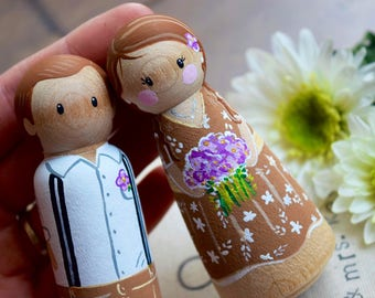 Custom Wedding Caketopper, Custom Peg Doll Wedding Caketopper, Wedding Couple Gift, Just Married, Rustic Bride and Groom, Wedding Keepsake