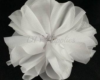 White ballerina flower - 3.5 inch fabric flower - Large double ruffle flower - Wholesale flowers - Twirl flower for headbands