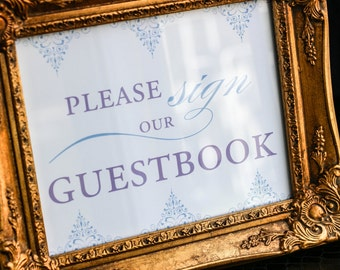 """Purple and Blue Wedding, Periwinkle Wedding Invitations, Guestbook Sign, Custom Signage, Scroll - """"Delicate Filigree"""" Guestbook Sign"""