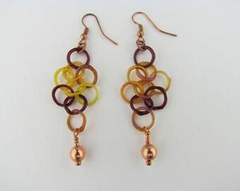 Glass Earrings - Chainmaille - Handmade Boro Glass -  chainmaille earrings - Fall Jewelry - Art Glass - Hand Blown Glass - Borosilicate