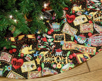 "Christmas Tree Skirt with Mary Engelbreit Print, Christmas Decoration, Whimsical Tree Skirt, 42"" Diameter, CLEARANCE SALE"