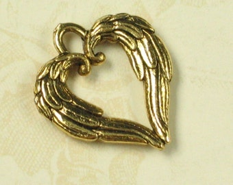 6 Antique Gold Wing Heart Charm Jewelry Finding 556