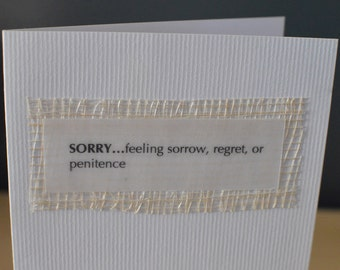 Sorry Handmade Blank Greeting Card, sorry, thinking of you card