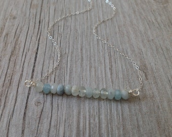 Natural Aquamarine and Silver Bar Necklace