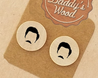 Ron Swanson Earrings Ron Swanson Wood Earrings Clip-On Earrings Clip On Earrings Pierced Earrings Wood Jewelry Parks and Recreation Fan Gift