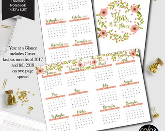 standard size TN Year at a glance printable insert, 2017 and 2018 Planner Insert.  CMP-235.12