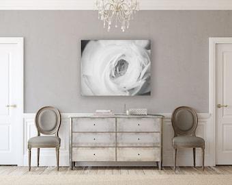 Canvas Art: Elegant Black and White Art for Bedroom Decor. Ranunculus Canvas Print for Bedroom, Romantic Art, Sensual Art, Large Wall Art.