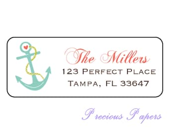 Teal anchor address labels Personalized anchor stickers nautical address labels nautical stickers