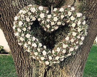 Baby's Breath and Moss Heart Wreath