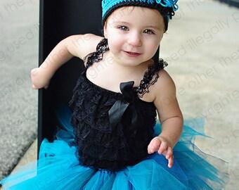 Turquoise Explosion Tutu Turquoise, Black, Smoke Blue Double Layer Princess Fairy Party Skirt Photo Prop