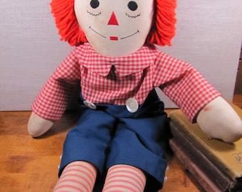 "Handmade Raggedy Andy Type Doll - 24"" - Red Yard Hair"