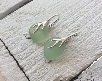 Sea Glass Earrings, Green Sea Glass Sterling Silver Leverback Earrings, Seaham Sea Glass