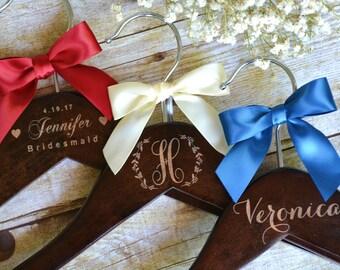 Bridesmaid Gift, Wedding Dress Hanger, Wooden Engraved Hanger, Custom Bridal Hangers, Wedding Hangers with Names, Custom Made Hangers