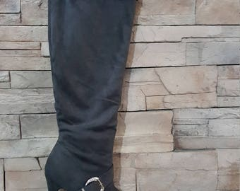 Thigh high Steampunk boots/Gray tall pirate boots/cowgirl boots/over Knie boots /size 7/costume accessories/synthetic suede leather