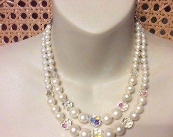 Vintage 1950s designer signed Laguna double strand necklace.