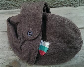 Vintage Military Hat, Bulgarian Army Uniform Soldier's Winter Hat, Communism Era Hat, Old Wool Hat, Gift Idea