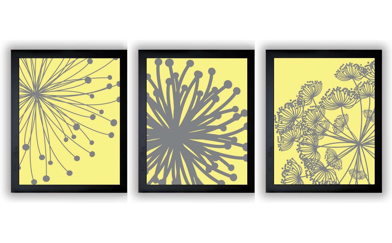Yellow Grey Gray Flower Print Flowers Dandelion Set of 3 Art