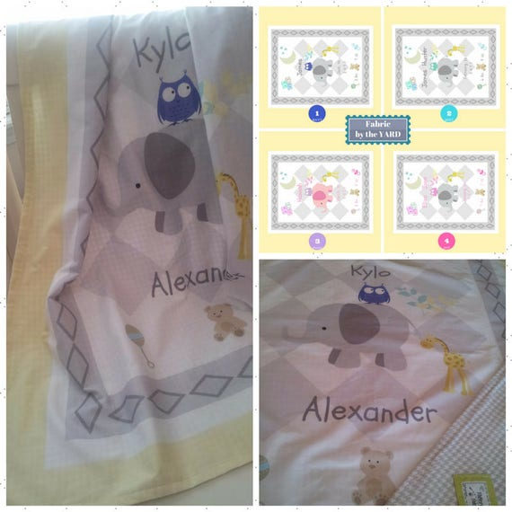 Personalized Custom Fabric Yard Quilt Fabric -  Elephant Friends - owl & giraffe, New Baby Birth Announcement, Cotton, Minky, Organic Cotton