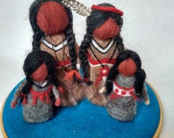Native American dolls set, Set of needle felted Native American, OOAK doll, Waldorf dolls, Felted wool doll