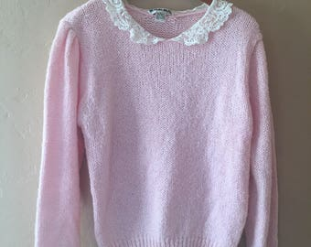 Baby pink wool blend sweater with lace Peter Pan collar
