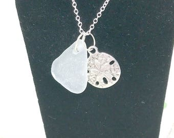 Sterling Sea Glass Necklace, Seafoam Sea Glass Jewelry, Beach Glass Necklace, Lake Erie Jewelry, Lake Glass Necklace