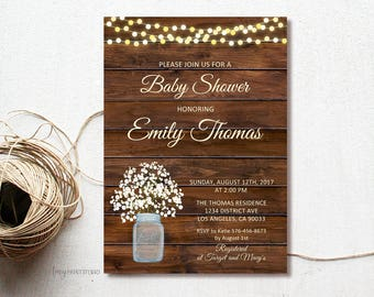 Rustic Baby Shower Invitation, Wood Baby Shower Invite, Baby's Breath Invitation, Mason Jar Baby Shower, PERSONALIZED, Digital file, #A17