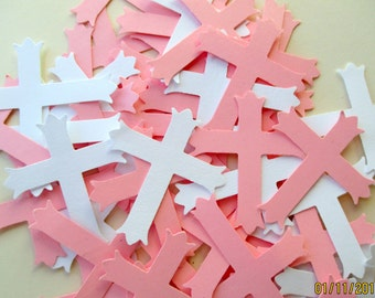 200-Pink and white Cross Confetti-Baptism Decorations-little girls Christening-First holy Communion-large paper crosses-babys baptism decor