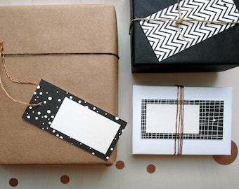 Gift tags» black & white «in a set of 6»