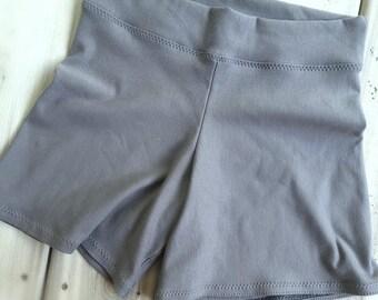 Workout shorts, organic knit jersey, custom made women's clothing