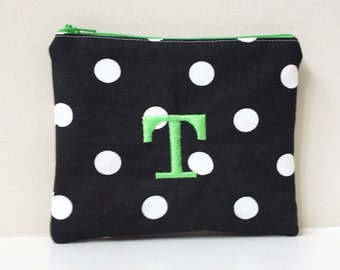 Polka Dot Cosmetic bag -  Monogram Make up bag - Coin Pouch with name or initials - Monogrammed Wallet - Personalized Gift - Small