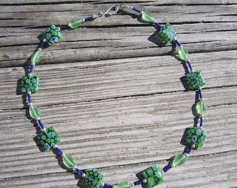 Blue Green Millefiori Necklace
