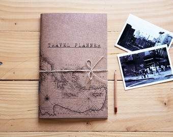 Travel planner notebook , hipster handmade map journal, rustic travel diary recycled paper