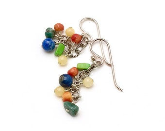 Multicolor Mixed Stone Sterling Silver Colorful Dangle Earrings     for Her Under 50 Green Blue Red FUN Lightweight OOAK Gift for Her Mom