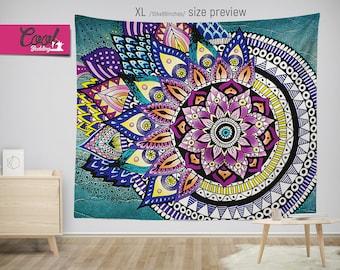 MANDALA Wall Tapestry, Asymmetric Wall Hanging, Mandala Art Tapestry. Boho Chic backdrop 08