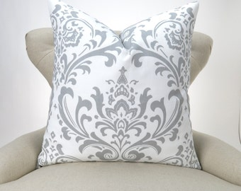 Gray Damask Floor Pillow Cover -up to 28x28 inch- Big Gray Pillow, Damask Euro Sham, White & Grey, Traditions Storm Premier Prints, FREESHIP