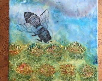 12x12 Encaustic Bee Painting