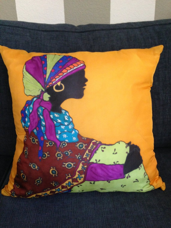 LADY IN WAIT #4 -Hand Painted Silk Decorative Pillow