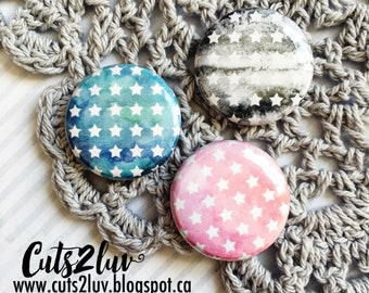 "3 buttons 1 ""watercolor stars"